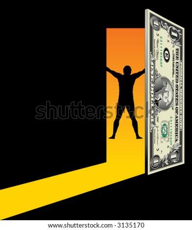 Open the door to financial freedom - stock vector