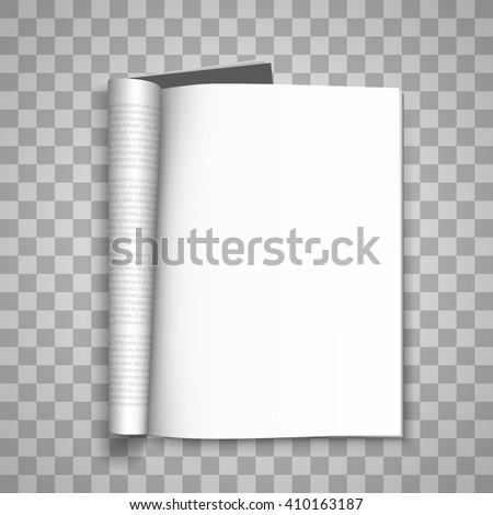 Open the paper journal, Paper Journal, Blank magazin transparent background, Page template design element, Vector illustration - stock vector