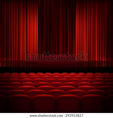 Open theater red curtains with light and seats. EPS 10 vector file included - stock vector