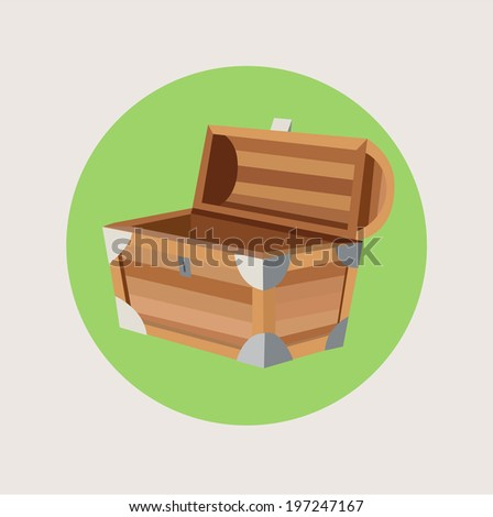 open treasure chest isolated flat design - stock vector