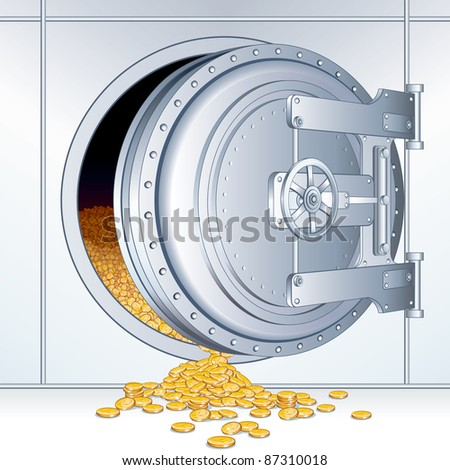 Open Vault Door with a Full of Money Storage, vector detailed financial 3D illustration - stock vector