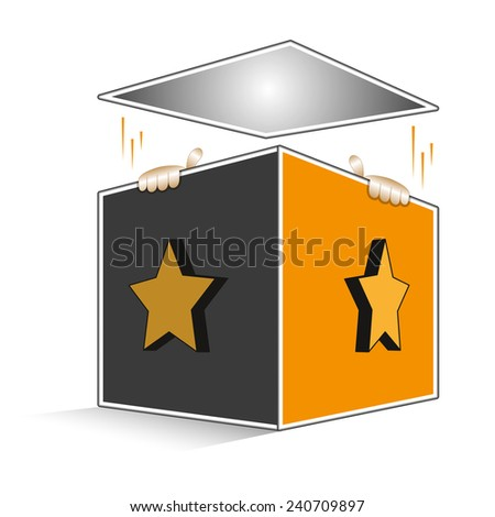 Open volumetric box with cartoon hands of Jack coming out - stock vector
