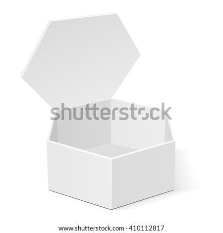 Open White Cardboard Hexagon Box Packaging For Food, Gift Or Other Products. Illustration Isolated On White Background. Mock Up Template Ready For Your Design. Product Packing Vector EPS10 - stock vector