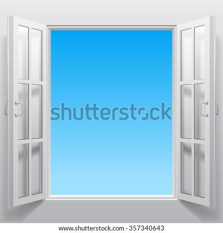 Open white double window into sky. Concept design. Vector illustration  - stock vector