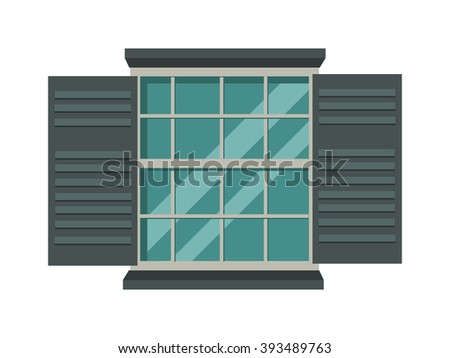 Open wood house window and glass window architecture square view. Open glass window vector. Window open interior frame glass construction isolated flat vector illustration.  - stock vector