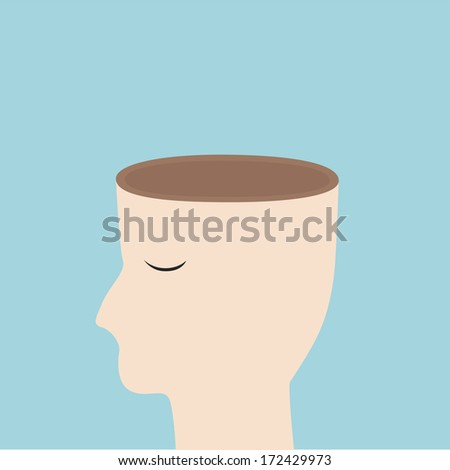 Open your mind concept,head open vector design - stock vector