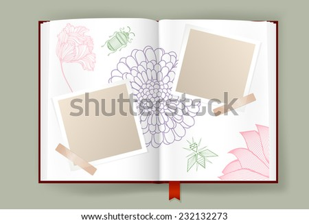 Opened album with blank photo frames decorated by Nature elements. Pages ornate with flowers line art and abstract insects. Scrapbook or diary template. Copy space. Vector is EPS10. - stock vector