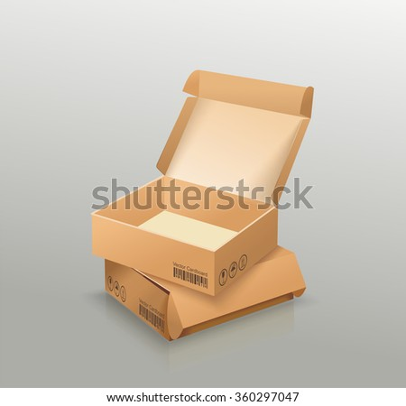 Opened and closed empty cardboard box, recycle brown box packaging.  Vector illustration - stock vector