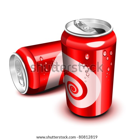 Opened and closed red cola can - stock vector