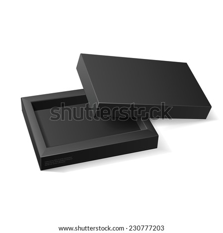 Opened Black Cardboard Package Mock Up Box. Gift Candy. On White Background Isolated. Ready For Your Design. Product Packing Vector EPS10  - stock vector