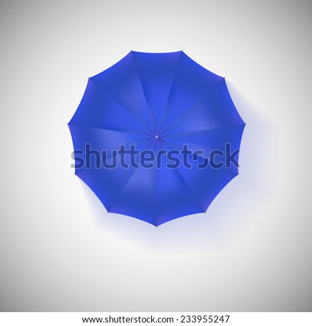 Opened blue umbrella, top view, closeup. Vector illustration. - stock vector
