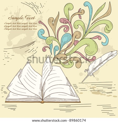 Opened book with abstract design retro elements and grunge vintage background. Vector illustration. - stock vector