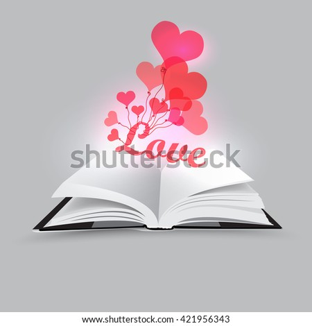 Opened book with hearts - vector illustration  - stock vector