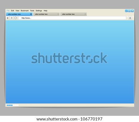 Opened browser window template for any content - stock vector