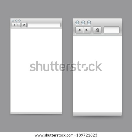 Opened browser windows template. Past your content into it - stock vector