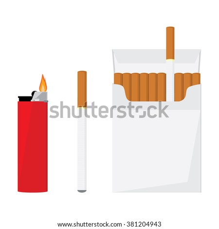 Opened cigarette pack with cigarettes, cigarette and red pocket lighter with fire vector illustration. Cigarette box. Cigarette packet. - stock vector