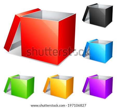 Opened color boxes. - stock vector