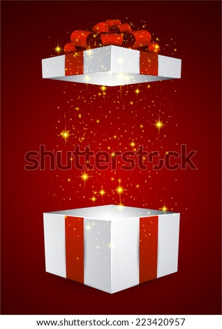 Opened 3d realistic gift box with red bow. Vector illustration.  - stock vector