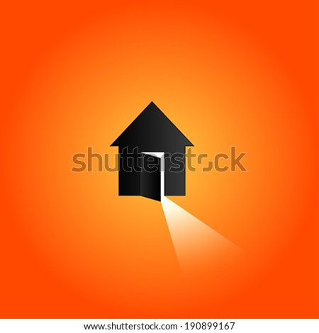 Opened door with bright light, House - stock vector