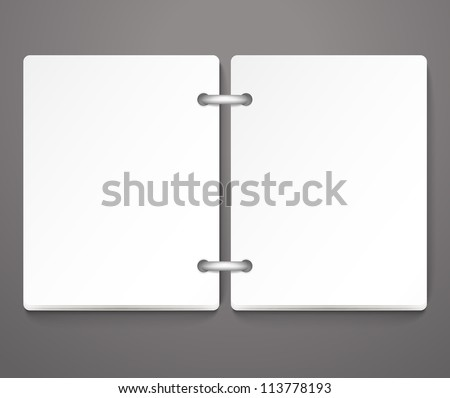Opened empty paper diary. Template for a text - stock vector