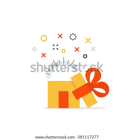 Opened gift box, surprise concept - stock vector
