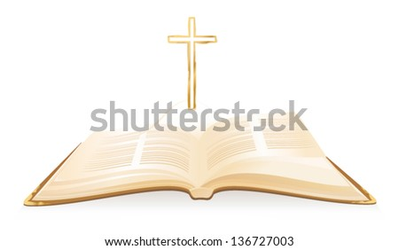 Opened Holy Bible with cross above it. Vector - stock vector