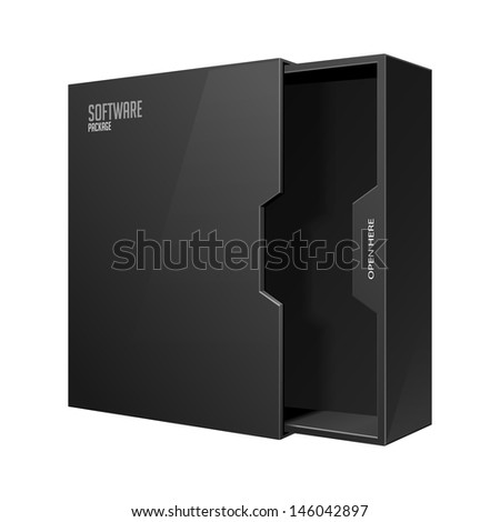 Opened Modern Software Package Box Black With DVD Or CD Disk EPS10  - stock vector