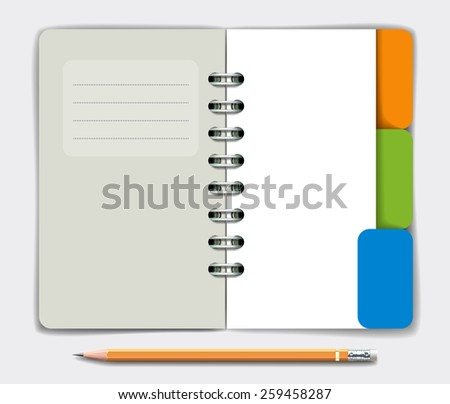 Opened note pad and pencil. Vector illustration - stock vector