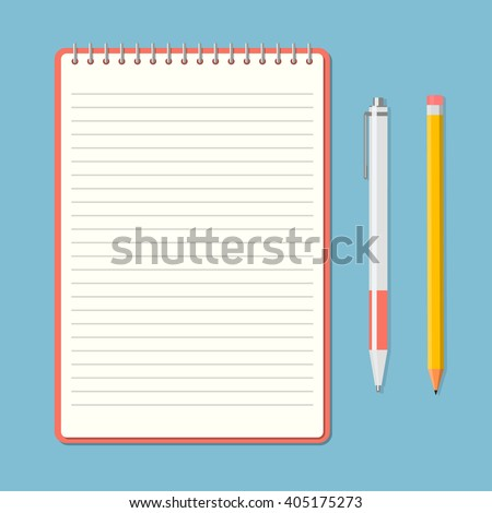 Opened notepad with pencil and pen in top view. Sketchbook or diary. Vector illustration - stock vector