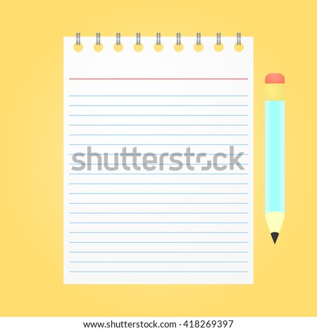 Opened notepad with pencil on yellow background. Top view. Flat design - stock vector