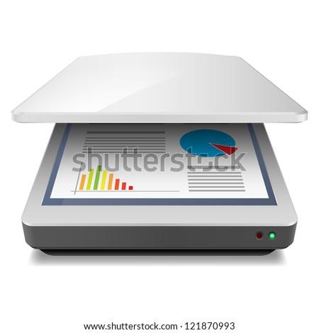 Opened Office A4 Scanner. Illustration on white - stock vector