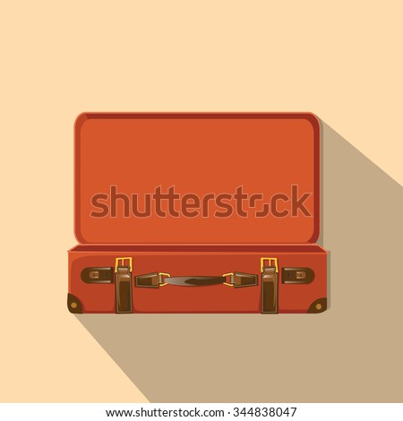 Opened Old Suitcase. - stock vector