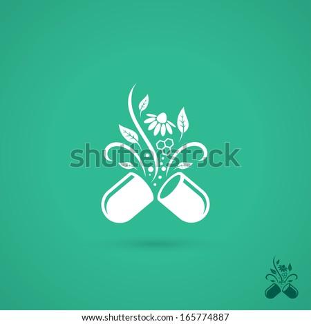 Opened pill - vector illustration - stock vector