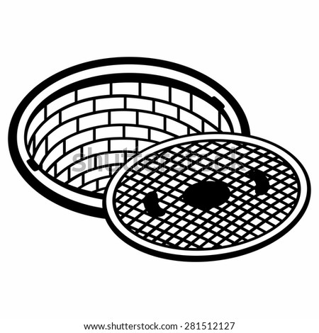 Opened street manhole. Isolated on white background - stock vector