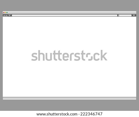 Opened template. Grey website display bar isolated. Navigation button forward, back, home, search, menu. Business concept commerce site. Background interface. Past content Vector abstract illustration - stock vector