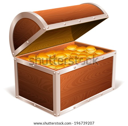 Opened treasure chest with golden coins inside. - stock vector