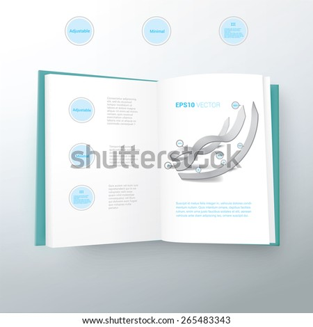 Opened Vector Book Illustration with 3D Info Chart Arrows - stock vector