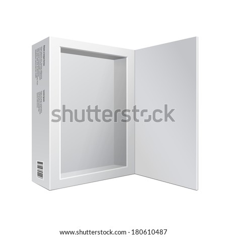 Opened White Modern Software Package Box For DVD, CD Disk Or Other Your Product EPS10 - stock vector