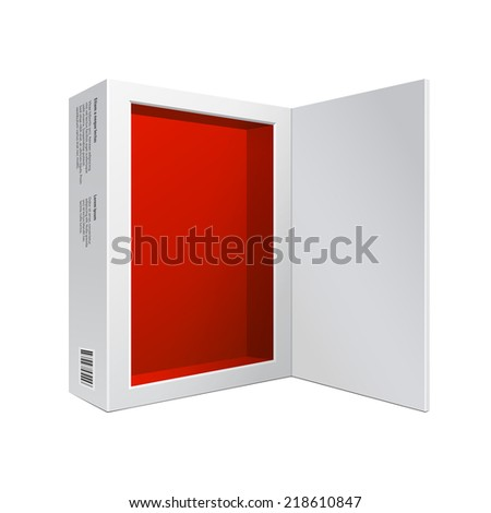 Opened White Modern Software Package Box Red Inside For DVD, CD Disk Or Other Your Product EPS10 - stock vector