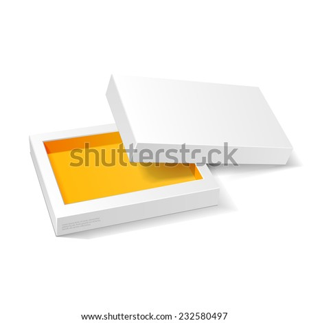 Opened White Orange Yellow Cardboard Package  Mock Up Box. Gift Candy. On White Background Isolated. Ready For Your Design. Product Packing Vector EPS10  - stock vector
