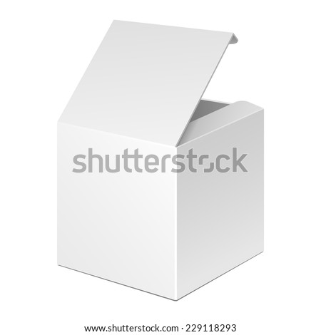 Opened White Product Cardboard Package Box. Illustration Isolated On White Background. Ready For Your Design. Vector EPS10 - stock vector
