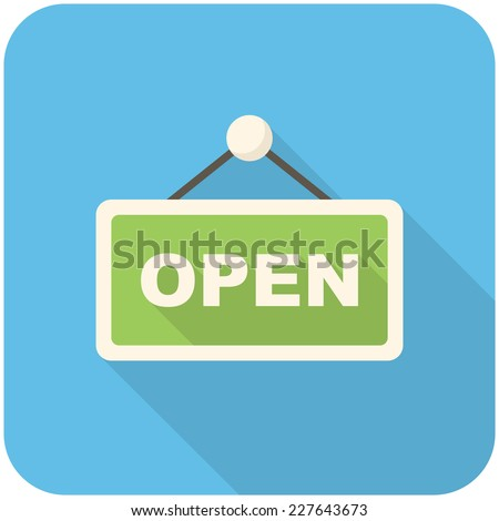 Openicon (flat design with long shadows) - stock vector