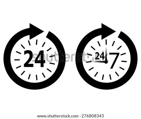 opening hours 24 7 - stock vector