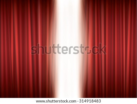 Opening theater red curtain, vector background - stock vector