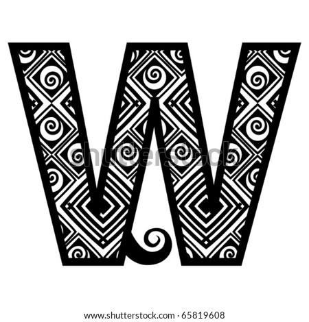 openwork alphabet, letter W - stock vector
