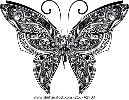 Openwork butterfly, monochrome - stock vector