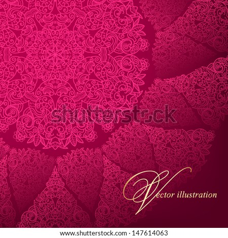 Openwork circular pattern on a burgundy background. Hand drawing - stock vector