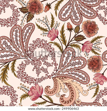 openwork pattern with paisley, watercolor roses in pink and burgundy tones on a light background - stock vector