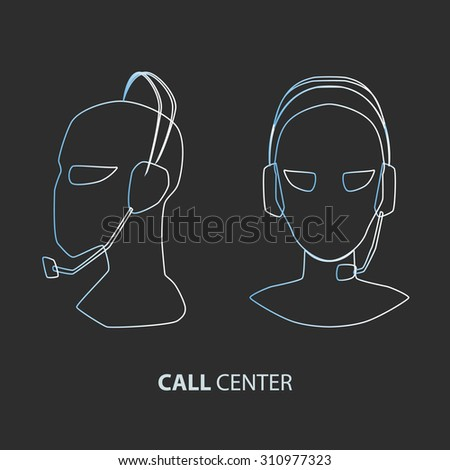 operator call center in the face and in profile - stock vector