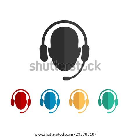 Operator in headset  - vector icon, flat design - stock vector